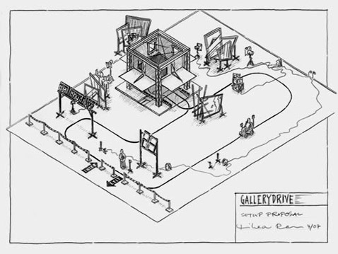 Вот так выглядит набросок проекта Gallerydrive в общем виде. Ничего не понятно, но выглядит классно (иллюстрация с сайта cyberniklas.de).