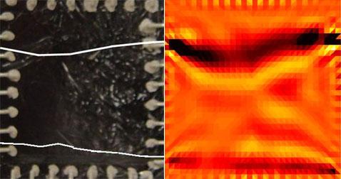 """Внешний вид нового материала (слева): белые полосы, видимо, показывают местоположение трещин в повреждённом элементе из цемента; а так выглядит """"карта"""" электропроводности (справа) (фото University of Michigan)."""