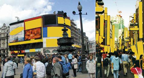 Слева— удалённая Пикадилли, справа— Токио (фотомонтаж с сайта steinbrener-dempf.com).