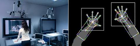 Глядящие сверху камеры фиксируют движение каждого пальца— можно голыми руками управлятиь объектами на экране (фото с сайта u-tokyo.ac.jp).