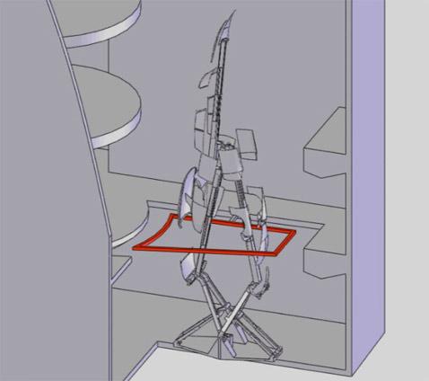 А так скульптура должна развернуться на всю катушку в шоуруме на Елисейских полях. Как видите, она почти достаёт до 3 этажа (иллюстрация с сайта amorphicrobotworks.org).