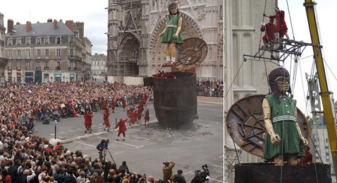 На маленькой великанше оказался лётный шлем и очки (фото с сайта nantes.fr).