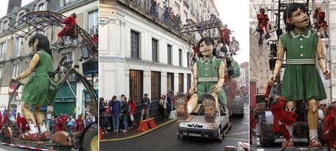 Деревянная девочка ездила на самокате и автомобиле, а также ходила пешком (фото с сайта nantes.fr).