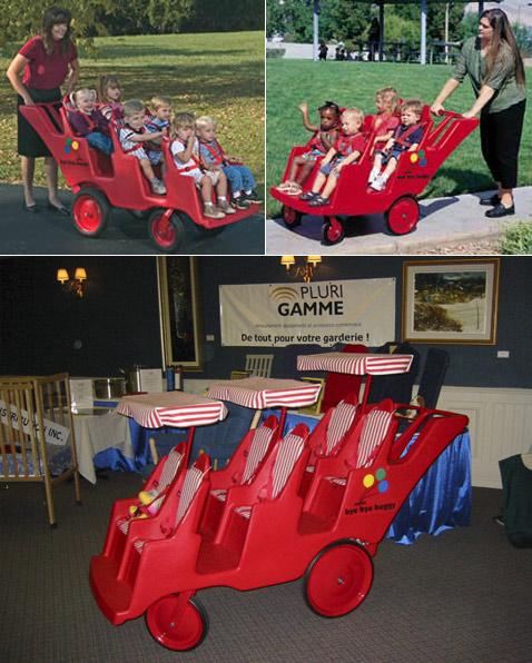 Вероятно, большинству читателей не приходилось видеть на улице коляски, рассчитанные более чем на двух детей. Так что глядите (фото с сайтов baplaysets.com и plurigamme.com).