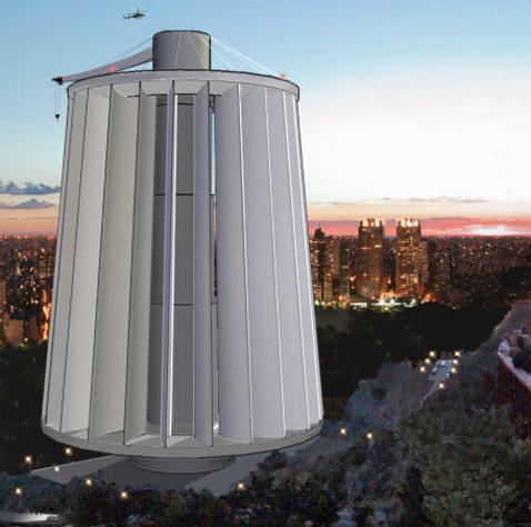 Пока это единственное более-менее подробное изображение Maglev Turbine. Её разработчики отмечают, что, помимо прочего, на вершине башни должны находиться вертолётная площадка, кран для грузов и метеостанция (иллюстрация Maglev Wind Turbine Technologies).