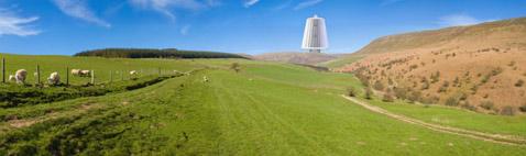 """Можно спорить, станет ли гигантская турбина украшением пейзажа, но хорошо уже то, что она в одиночку должна заменить тысячу обычных """"мельниц"""", против установки которых нередко возражают местные жители (иллюстрация Maglev Wind Turbine Technologies)."""