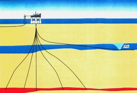 Saline Aquifer CO<sub>2</sub> Storage — характерный пример хранилища углекислого газа между слоями породы глубоко под океанским дном (иллюстрация с сайта iku.sintef.no).