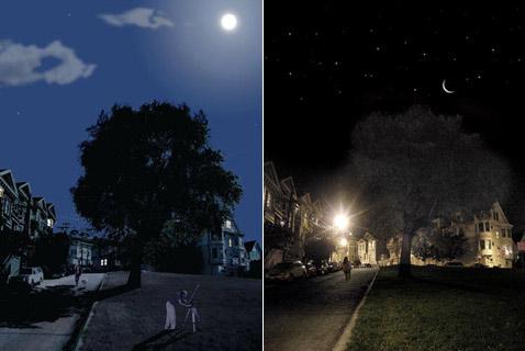 """Один и тот же участок улицы при полной Луне и """"старом"""" месяце в случае работы системы Lunar-resonant streetlights (иллюстрации Civil Twilight)."""
