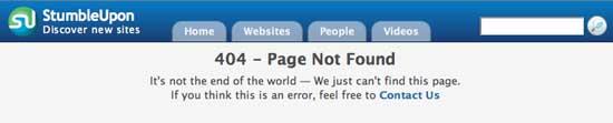 404 ошибка на StumbleUpon